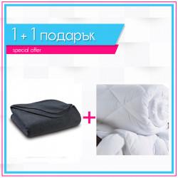 Поларено одеяло в сиво + зимна олекотена завивка