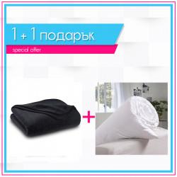 Поларено одеяло в черно + олекотена завивка