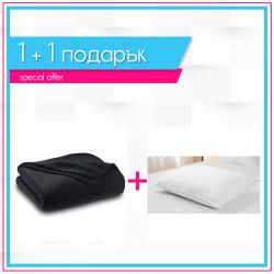 Поларено одеяло в черно + възглавница