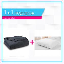 Поларено одеяло в сиво + възглавница