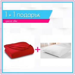 Поларено одеяло в червено + възглавница