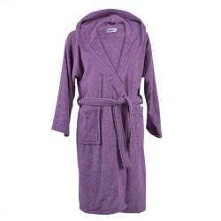 Хавлиен халат с качулка МЕКО лилаво