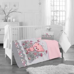 Бебешки спален комплект - розово мече