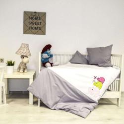 Бебешки спален комплект с бродерия - веселите слончета