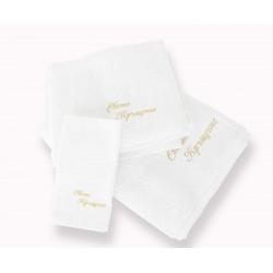 Комплект от три броя кърпи за кръщене - бял