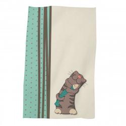 Детска хавлиена кърпа - коте с рибка