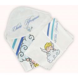Комплект от три броя кърпи за кръщене - синьо