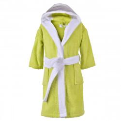 Детски хавлиен халат - зелено и бяло S