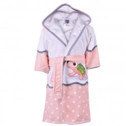 Детски хавлиен халат - костенурка в розово S