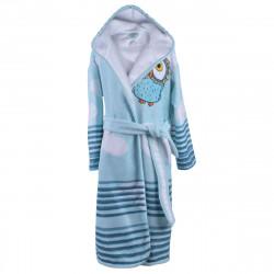 Детски хавлиен халат - бухал в синьо L