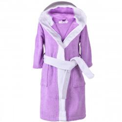 Детски хавлиен халат - лилаво и бяло S