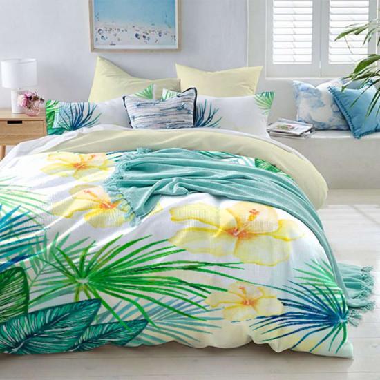 Спално бельо премиум за единично легло - цветни орхидеи