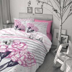 Спално бельо ранфорс за голяма спалня - карамфили