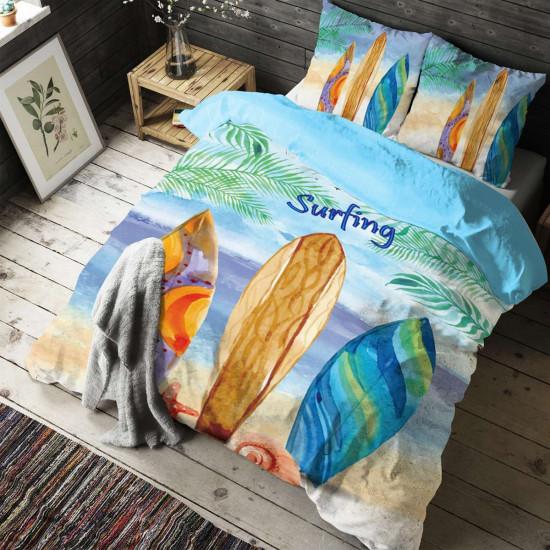 Спално бельо ранфорс с две лица за голяма спалня - тропикана