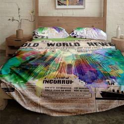Спално бельо ранфорс с две лица за макси спалня - пейпър сити