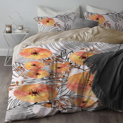 Спално бельо ранфорс за единично легло - кремави божури