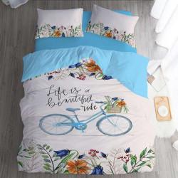 Спално бельо ранфорс с две лица за единично легло - винтидж
