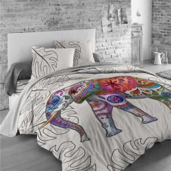 Луксозен спален комплект от памучен сатен с 3D за голяма спалня - цветен слон