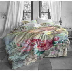 Луксозен спален комплект от памучен сатен с 3D за голяма спалня - акварел