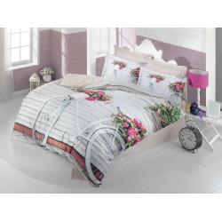 Луксозен спален комплект от памучен сатен с 3D за гояма спалня - романс