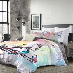 Луксозен спален комплект от памучен сатен с 3D за голяма спалня - нежно утро