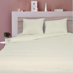 Луксозен спален комплект от памучен сатен с 3D за макси спалня - екрю с ивици