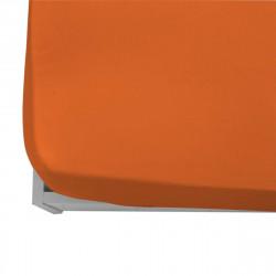 Долен чаршаф с ластик от ранфорс - оранжев