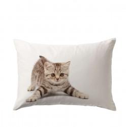Калъфка от памучен сатен 50/70 с 3D принт с малко котенце