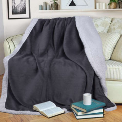 Шерпа одеяло с две лица 140/200 - графит и бяло