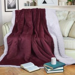 Шерпа одеяло с две лица 140/200 - бордо и бяло