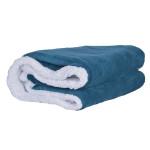 Шерпа одеяло с две лица 140/200 - петролно синьо и бяло