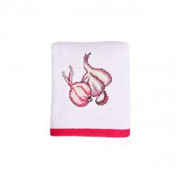 Луксозна хавлиена кърпа 40/60 с бродерия - бяло и розово