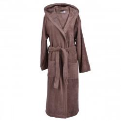 Хавлиен халат с качулка MEMI кафяво
