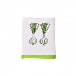 Луксозна хавлиена кърпа 40/60 с бродерия - бяло и зелено