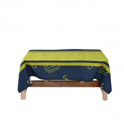 Луксозна покривка от поликанава с минимат печат 150/200 - зелено и синьо