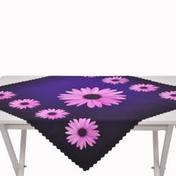 Луксозна покривка с минимат печат 75/75 - лилави гербери