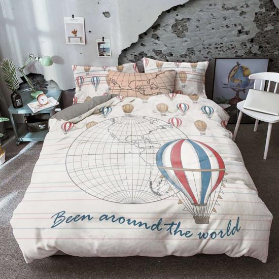 Единичен спален комплект Пътешествие с балон 100% памук