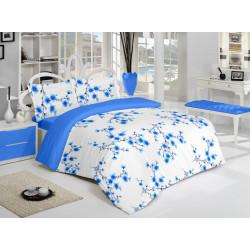 Спално бельо памук Цветенца Синьо