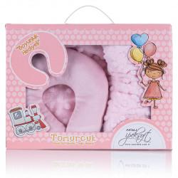 Бебешко одеяло и подарък възглавница за път Розово