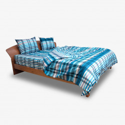 Спално бельо 100% Памук Каре аква