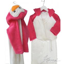 Детски халат микропамук Penguin Бяло и розово