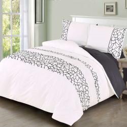 Луксозно спално бельо от памучен сатен Oliver Бяло и сиво
