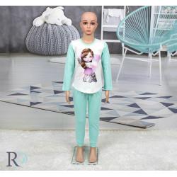 Памучна пижама за деца Clara Тюркоаз