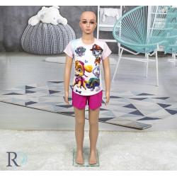 Памучна пижама с къси панталони за деца Paw Patrol Розово