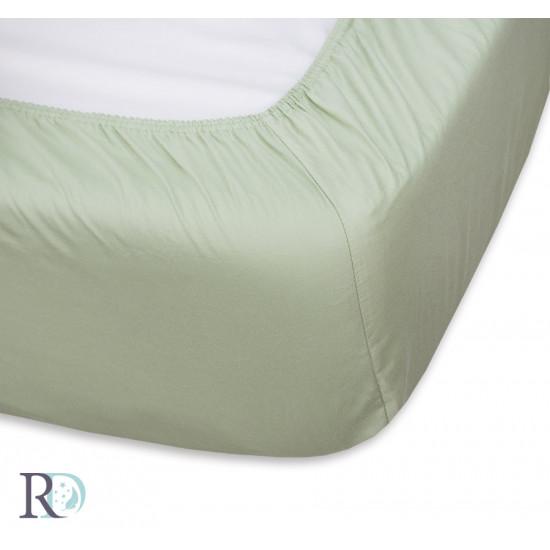 Чаршаф с ластик Сатениран памук Green