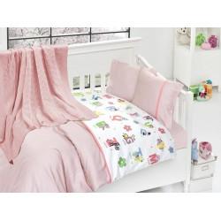 Бебешко спално бельо с плетено памучно одеяло - Енималс от StyleZone