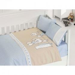 Бебешко спално бельо с плетено памучно одеяло - Бейби Блу от StyleZone