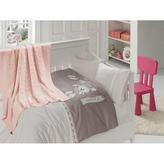 Бебешко спално бельо с плетено памучно одеяло - Бейби Пудра от StyleZone