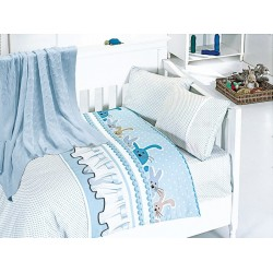 Бебешко спално бельо с плетено памучно одеяло - Джини блу от StyleZone