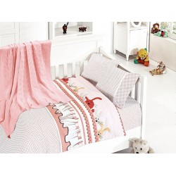 Бебешко спално бельо с плетено памучно одеяло - Джини пудра от StyleZone